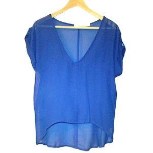 Liberty Love Blue Sheer Short Sleeve Top Large